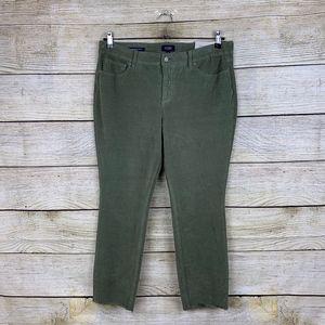 NYDJ Alina Ankle Raw Hem Corduroy Green Jeans 14